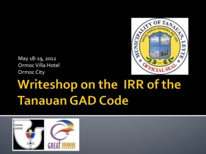 Writeshop on the IRR of Tanauan GAD Code