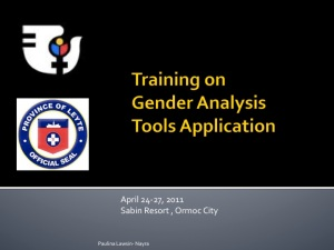 Training on Gender Analysis Tools Application